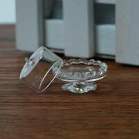 Dolls House Miniature Glass Transparent Dessert Pot Plate Jar stand fun-1:12
