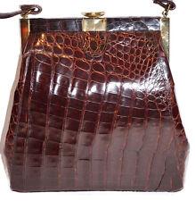 Vintage BROWN GOLD Real Alligator CROCODILE Bag PURSE HANDBAG 1960'S