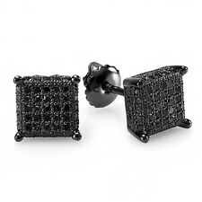 0.48 CT Sterling Silver Round Diamond Dice Shape Mens Hip Hop Iced Stud Earrings