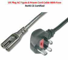 1.8M Metre Figure of 8 Mains Cable Fig 8 UK Power Lead Plug Cord IEC C7