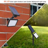 Lumière Lampe Solaire 48 LED Extérieur Jardin Paysage Pelouse Etanche Projecteur