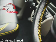 FOR IKCO ARISUN -BLACK STEERING WHEEL COVER YELLOW STITCH