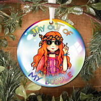 Stay Out Of My Bubble Cute Hippie Girl Christmas Ceramic Ornament