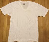 NOS Vintage 90s HANES vneck t shirt XL white single stitch blank plain basic