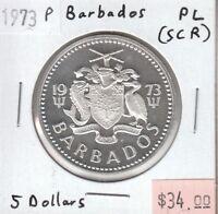 Barbados 5 Dollars 1973 Silver Proof Like Strike