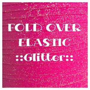 2 Metres - Fold Over Elastic - Plain Glitter