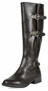 Women Ladies Leather Combat Casual Pull On Knee High Riding Boots Shoes Size US