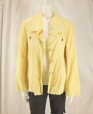 Chico's sz 3 (XL) Sunshine Yellow Cotton Linen Blend Lined LS Jacket/ Blazer