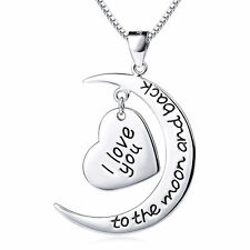 """I Love You To The Moon and Back""Sterling Silver Crescent Heart Necklace Jewelry"