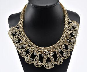 Vintage Oscar de la Renta statement necklace in gold tones and crystals