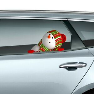 Snowman in Window Peeking Car Sticker Decal Bumper Gift Christmas Xmas