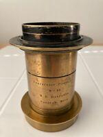 """Antique Brass Large Format 8x10 Portrait Lens 16"""" Focal Length f8 w/Flange RARE!"""