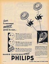 PUBLICITE ADVERTISING 114 1955 PHILIPS rasoir électrique