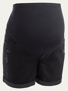 "Old Navy Maternity Full-Panel Boyfriend Black Ripped Jean Shorts 5"" Ins Size 2"