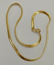 """Indian 22"""" Gold Plated Flat Designer Thick Unisex Party Chain Necklace Jewelry"""