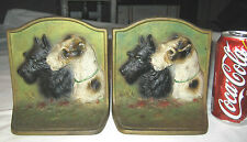 Antique Hubley Usa Canine Terrier Cast Iron Dog Oil Painting Art Statue Bookends