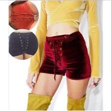 Women's Skinny Velvet Shorts High Waist Bottom Bandage Lace Up Pants 6A