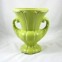 Green Chartreuse Glazed Pottery Urn Planter Vase Double Handle Vintage USA