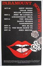 Savoy Brown John Denver Uriah Paramount Northwest 1972 Cardboard Concert Poster