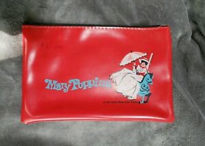 "Vintage 1964 Walt Disney Productions Mary Poppins Red Pencil Case 8 3/4""x5 1/2"""