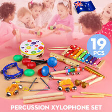 AU 19PCS Wooden Kids Baby Musical Instruments Toys Children Toddlers Percussion