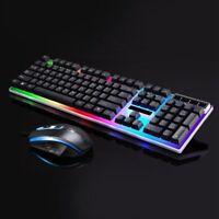 LED Colorful Backlight Adjustable Gaming USB Wired Keyboard + Mouse Set 104keys