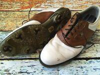 Men's FootJoy Dryjoys Tour White/Brown Saddle Leather Golf Shoes Cleats Size 11M