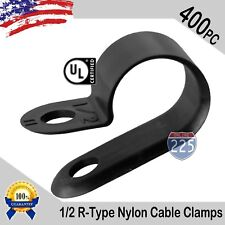 """400 PCS PACK 1/2"""" Inch R-Type CABLE CLAMPS NYLON BLACK HOSE WIRE ELECTRICAL UV"""