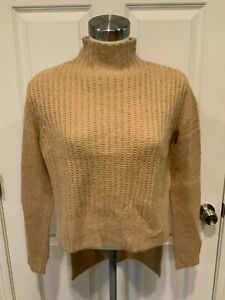 Project Naadam Camel Open Knit Turtleneck Sweater/Short Poncho, Size XS, NWT!