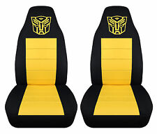 Front set  black and yellow highback car seat covers with transformer design
