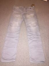 Brand New Mens True Religion Jeans Rocco Relaxed Skinny W43 x L34 Light Grey