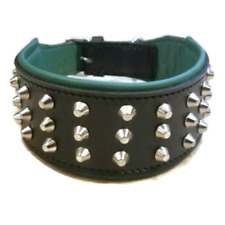 "Green/Black Studded Dog Collar 3"" Wide Pet Collar XL For Big Dogs Bull Terrier"