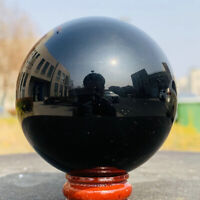 60mm Natural Black Obsidian Sphere Crystal Ball Healing Stone + Free Stand