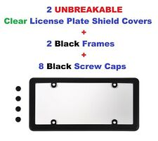 2 UNBREAKABLE Clear License Plate Shield + 2  Black Frames for Cars & Trucks New