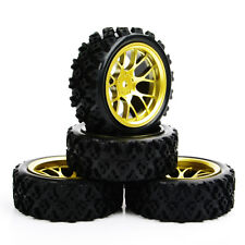 4x 1/10 Scale RC Rally Racing Car Rubber Block Rubber Tyres & Wheels PP0487+DHG