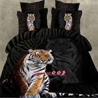 Single/Double/Queen/King Bed Quilt/Doona/Duvet Cover Set Pillow Case Black Tiger