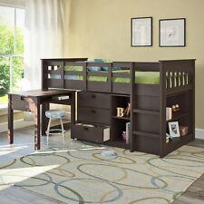 Twin Loft Bunk Bed Desk Ladder 3 Drawer Storage Chest Bookcase Wood Espresso