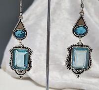 925 Sterling Silver Overlaid Blue Topaz Droplet Earrings