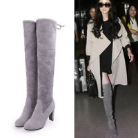 Women's Over Knee Boots High Heels Winter Autumn Slip-on Lace-up Shoes Plus Size