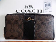 NWT Coach Signature PVC Accordion Zip Around Wallet Brown & Black F54630 $250