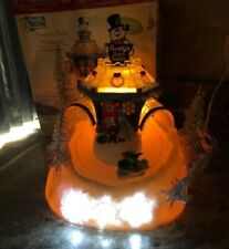 Rare Dept 56 North Pole Frosty Snowman Frosty Sled's & Saucers Hill Animated