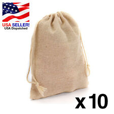 4 x 6 Natural Unbleached Linen Jute Wedding Favor Bags Drawstring Pouch x10 U.S.
