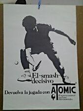 AFFICHE PUB ANCIENNE BALLE DE TENNIS ATOMIC ESPAGNE