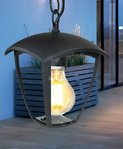 CGC Black Outdoor Hanging Light Coach Lantern Suspended Ceiling E27 Bulb IP54
