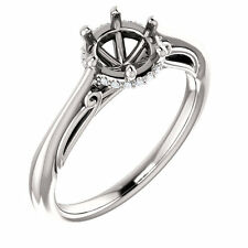 Semi Mount Setting 14k White Gold Halo Engagement Ring for Round Stone Diamonds