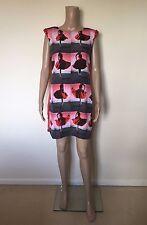 TED BAKER Redosie Rosie Tunic Red Dancer Print Embellished Dress Size 2 UK 10