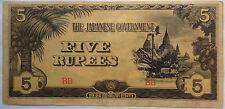 Burma Japanese Invasion Money 5 Rupees Prefix BB (B)