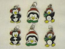 PENGUIN CHRISTMAS HOLIDAY ENAMEL SCRAPBOOK JEWELRY CRAFT CHARM LOT SET *NEW*