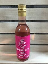 8 x Personalised Keep Calm Hen Night Party Mini Wine Bottle Stickers Labels