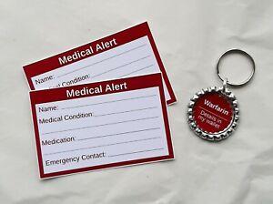 Warfarin Medical Alert Keyring & Cards by Curiosity Crafts
